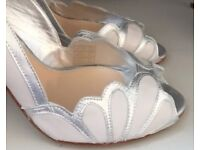 Wedding Shoes 8 42 leather Rachel Simpson silver Ivory cream white heels