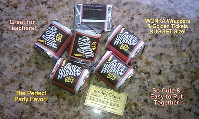 Nugget sized Willy Wonka WRAPPERS & GOLDEN TICKETS  (no chocolate)