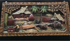 2D picture - village scene hand carved