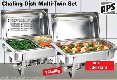 2er Set Chafing Dish Speisenwärmer 16 tlg. Edelstahl