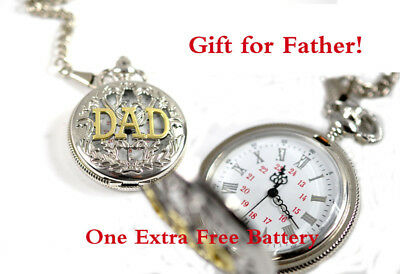 0297594041 Brand New Silver Pocket Watch Antique DAD Letters Gift for Father