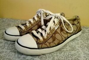 Coach Womens AUTHENTIC Fashion Sneakers Tan/gold - Size 9.5