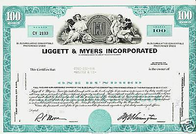 LIGGETT & MYERS INC ( L&M CIGARETTES Tobacco) Durham NC old stock certificate