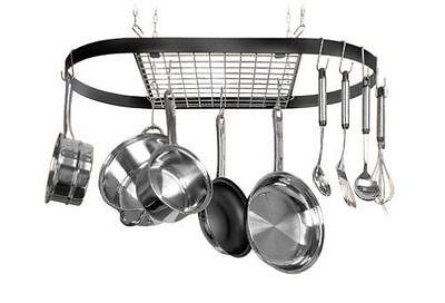 NEW Kitchen Pots and Pans Hanger Mounted Oval Ceiling Storage Pot Rack BLACK