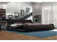 NEW Stylish curved italian style bed - double / king, black/white
