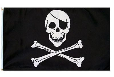 3X5 Jolly Roger Pirate Eye Patch Skull Crossbones Flag 3'x5' Banner USA SELLER Skull Crossbones Pirate