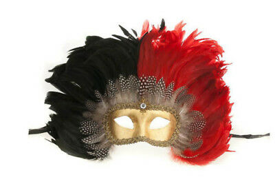 Mask Venetian Colombine Macrame from Venice in Feathers Red Female 281