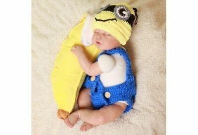 Minions Baby Kostüm Fotoshooting Neugeborene Mütze Set Strick Babyfotografie