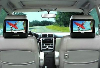 "PHILIPS PD9012/37 PORTABLE 9"" DUAL LCD WIDESCREEN DVD PLAYER TRAVEL CAR SPEAKERS"