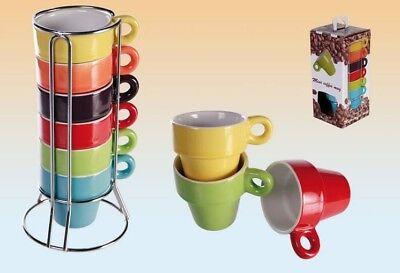 Espresso Espressotassen Kaffeetassen Tassen Set Bunt 6 Stück