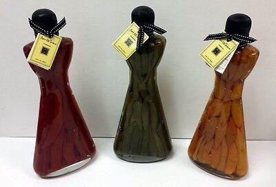 Set of 3 Large Infused Vinegar Chili Peppers in 26 Fl. Oz. Glass Bottles ()