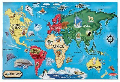 Melissa & Doug World Map 33 Pcs Floor Puzzle Toy Kids Play Game Child Learn New