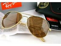 PAYPAL ACCEPTED,GOLD FRAME BROWN LENS RAY BAN AVIATORS,BRAND NEW IN BOX.