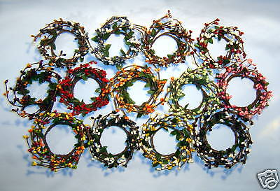 2 in PIP Berry Ring Candle Wreath - Color Variations - Spring, Fall, Christmas, Berry Christmas Wreath