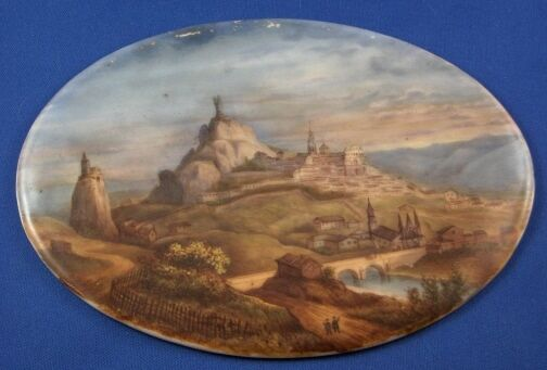 Antique 19thC German Porcelain Scenic Plaque Porzellan Bild Szene Scene Germany