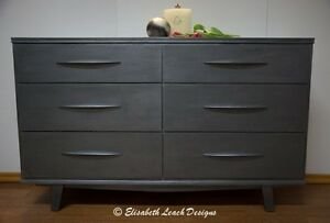 Vintage 1960s Dresser or Buffet Charcoal Grey