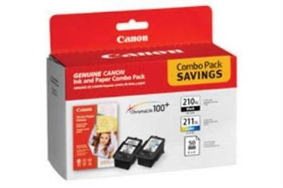Genuine CANON COMBO PACK/ PG-210XL Black & CL-211XL Color w/ 50 Photo Paper