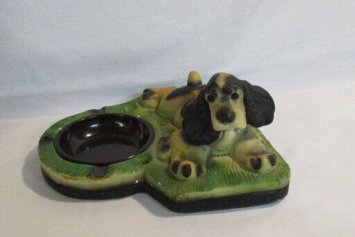 Antique Chalkware Cocker Spaniel Tray Bureau Tray