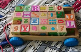 Wooden toy block truck trolley
