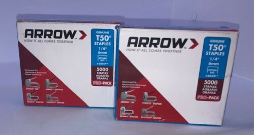 """2-Pack, Arrow T50 Staples 1/4 """" (2 x 5000 Count = 10,000) NEW Free Ship USA"""