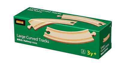 4 lange gebogene Gleise Brio 33342  1/1 Kurven Holzeisenbahn neu
