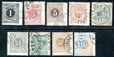 SCHWEDEN PORTO 1874 1-19A ex gestempelt 9 WERTE 325€(J9712