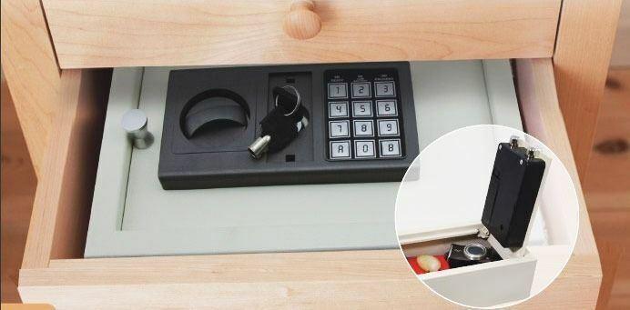 DIGITAL ELECTRONIC DRAWER SAFE HIDDEN SECURITY BOX JEWELRY GUN CASH WHITE