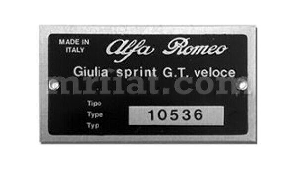 Alfa Romeo Giulia Sprint Gt Veloce Id Plate New