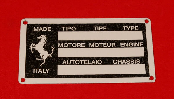 Ferrari 308 Qv 328 Replacement Chassis Plate New