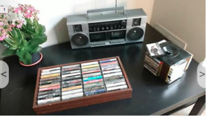 Boombox with tapes