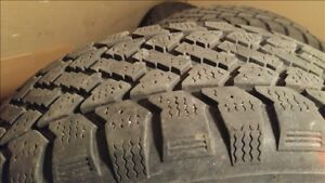 4 great condition snow tires on rims, goodyear and snowtrakker