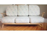 Blonde Ercol Windsor Suite - sofa and two chairs