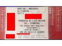 U2 JOSHUA TREE TOUR TWICKENHAM SUNDAY 9TH JULY STANDING TICKETS