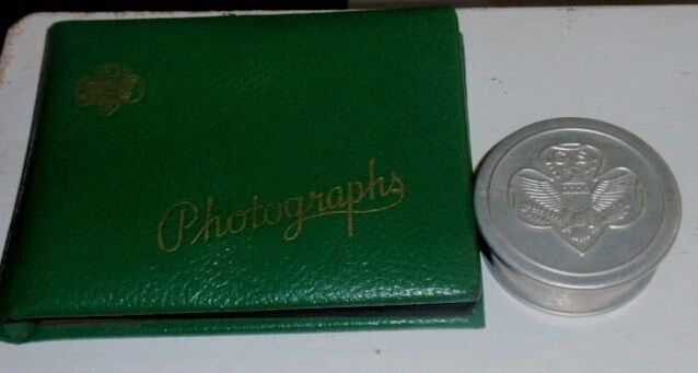 Vintage Girl Scouts of America Photo Album & Collapsible Aluminum Cup