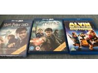 **HARRY POTTER (3D ONLY) & ALVIN & CHIPMUNKS BLURAYS**