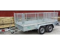 NEW 10x5 FACTORY MADE TWIN AXLE GALVANISED CAR TRAILERS WITH REMOVABLE MESHSIDES & RAMPDOOR