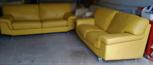 High End Yellow Leather Couch And Loveseat, Can Deliver