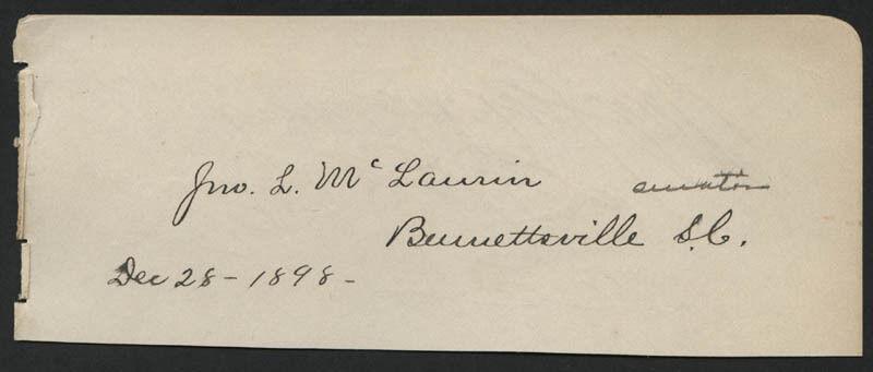 JOHN L. McLAURIN - SIGNATURE(S) 12/28/1898