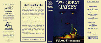 Fitzgerald THE GREAT GATSBY facsimile  jacket for 1st ed/early -NO BOOK included