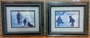 2 Small Framed Prints - Children Playing Winter Scene, only $5