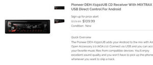 Pioneer DEH-X1910UB CD Receiver With MIXTRAX and USB Direct Cont