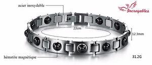 Promo: Bracelet en Inox & Hématite Magnétique - 22cm