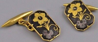 Excellent Mens Flower Four Sided Flapper CUFFLINKS Costume Vintage Jewelry O 15