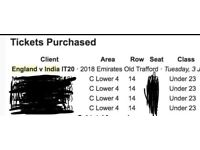 URGENT: MANCHESTER India vs England t20- CHEAP £25, 4 x U-23 tickets Old Trafford July 3rd