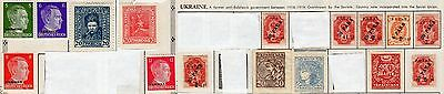 Lot of 16 UKRAINE Stamps including 4 ADOLPH HITLER Stamps w/Ukraine Overprint
