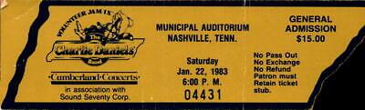 Vintage Ticket Stub Rock Concert Charlie Daniels Band Volunteer Jam Jan. 22, 83