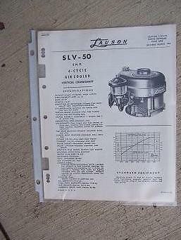 1956 Lauson Engine Parts Catalog List Slv-50 2 Hp 4 Cycle Vertical Crankshaft J