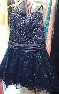 Short Blue Sequinned Top Prom or Ladies Party Dress, Size 3
