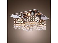 Modern Chrome Dimmable 4 light ceiling light with crystal drops...£69 retail