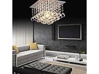 Crystal Droplet Chandelier Square Chrome Ceiling Lights
